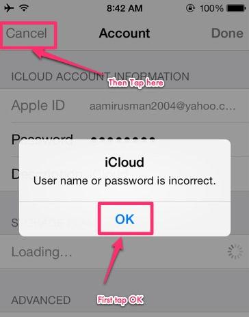 delte icloud account without password