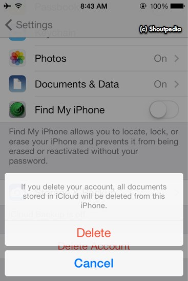 delete icloud account without password iphone 7